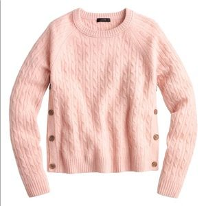 J.Crew Cable-Knit Sweater with Buttons Pink new